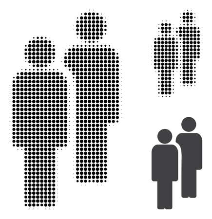 Men halftone dotted icon. Halftone array contains circle dots. Vector illustration of men icon on a white background.