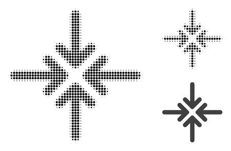 Collapse arrows halftone dotted icon. Halftone array contains circle elements. Vector illustration of collapse arrows icon on a white background.