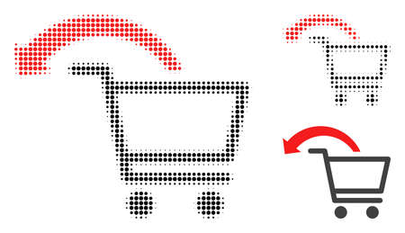 Cancel shopping order halftone dotted icon. Halftone array contains circle pixels. Vector illustration of cancel shopping order icon on a white background. Illustration