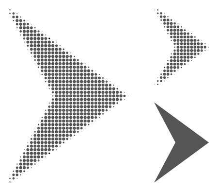 Right direction halftone dotted icon. Halftone array contains round dots. Vector illustration of right direction icon on a white background. Illustration