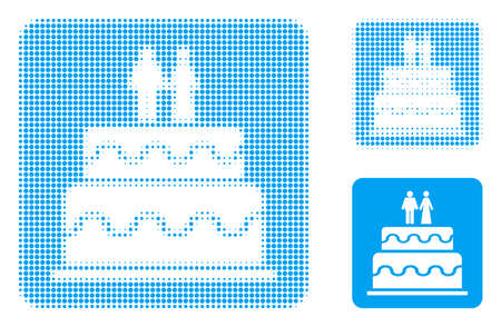 Marriage cake halftone dotted icon. Halftone pattern contains round dots. Vector illustration of marriage cake icon on a white background.