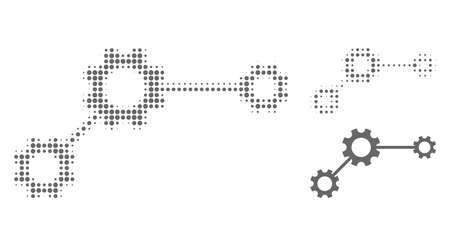 Gear links halftone dotted icon. Halftone array contains circle dots. Vector illustration of gear links icon on a white background.