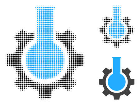 Chemical industry halftone dotted icon. Halftone pattern contains round elements. Vector illustration of chemical industry icon on a white background.