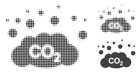 CO2 gas emission halftone dotted icon. Halftone array contains round points. Vector illustration of CO2 gas emission icon on a white background.