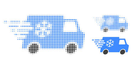 Refrigerator car halftone dotted icon. Halftone array contains round pixels. Vector illustration of refrigerator car icon on a white background.