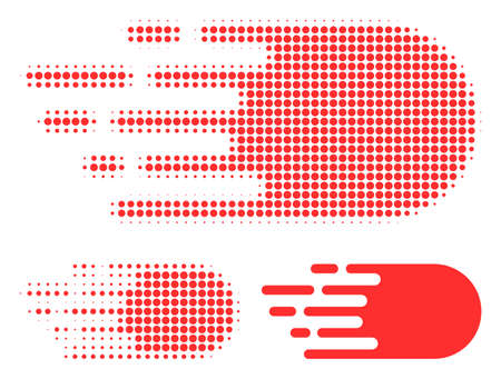 Electron flight halftone dotted icon. Halftone array contains round points. Vector illustration of electron flight icon on a white background.