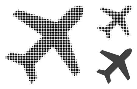 Airplane halftone dotted icon. Halftone array contains round dots. Vector illustration of airplane icon on a white background. Illustration