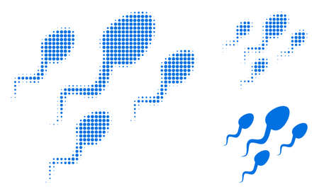 Sperm cells halftone dotted icon. Halftone pattern contains circle pixels. Vector illustration of sperm cells icon on a white background.