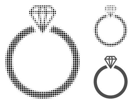 Diamond ring halftone dotted icon. Halftone pattern contains circle pixels. Vector illustration of diamond ring icon on a white background.