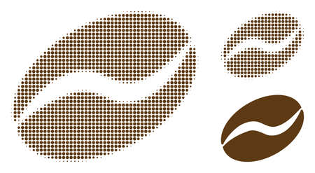 Cacao bean halftone dotted icon. Halftone pattern contains circle dots. Vector illustration of cacao bean icon on a white background.