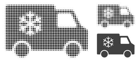 Refrigerator car halftone dotted icon. Halftone array contains round points. Vector illustration of refrigerator car icon on a white background.