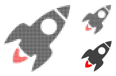 Rocket flight halftone dotted icon. Halftone pattern contains circle pixels. Vector illustration of rocket flight icon on a white background. Illustration