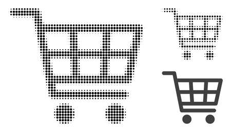 Shopping cart halftone dotted icon. Halftone pattern contains round points. Vector illustration of shopping cart icon on a white background.