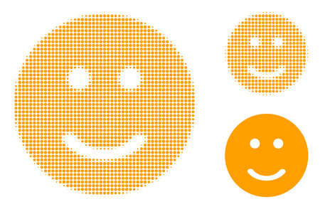 Glad smiley halftone dotted icon. Halftone pattern contains round elements. Vector illustration of glad smiley icon on a white background.