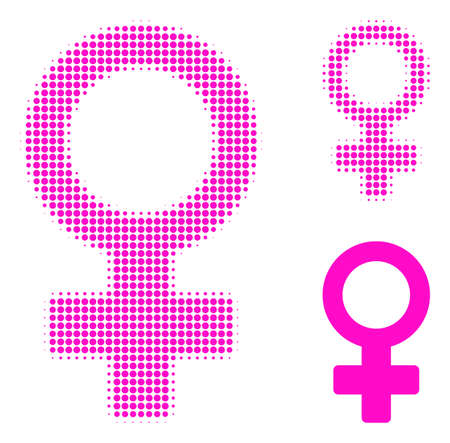 Female symbol halftone dotted icon. Halftone array contains round points. Vector illustration of female symbol icon on a white background.