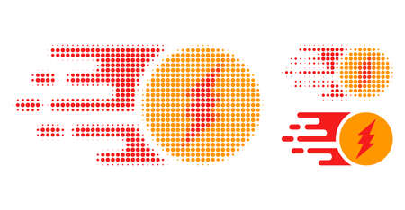 Electric charge halftone dotted icon. Halftone array contains circle pixels. Vector illustration of electric charge icon on a white background. Illustration