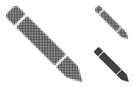 Pencil halftone dotted icon. Halftone pattern contains circle points. Vector illustration of pencil icon on a white background.