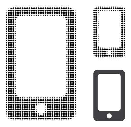 Smartphone halftone dotted icon. Halftone pattern contains circle dots. Vector illustration of smartphone icon on a white background.