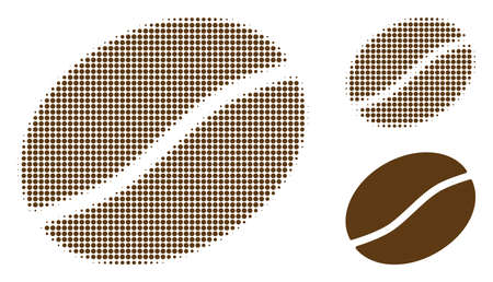 Coffee bean halftone dotted icon. Halftone pattern contains round points. Vector illustration of coffee bean icon on a white background.