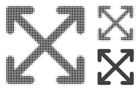 Enlarge arrows halftone dotted icon. Halftone pattern contains circle pixels. Vector illustration of enlarge arrows icon on a white background.