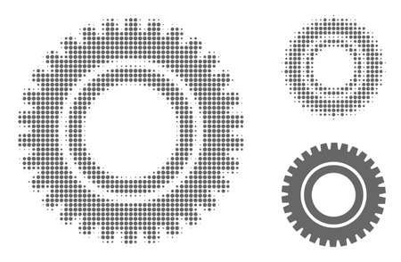 Clock gear halftone dotted icon. Halftone pattern contains circle dots. Vector illustration of clock gear icon on a white background.