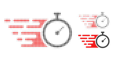 Time tracker halftone dotted icon. Halftone array contains circle points. Vector illustration of time tracker icon on a white background. Illustration