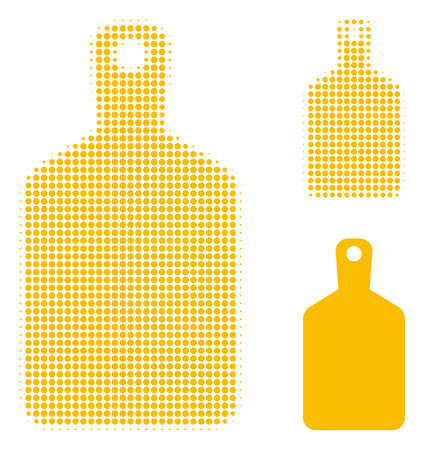 Cutting board halftone dotted icon. Halftone pattern contains circle dots. Vector illustration of cutting board icon on a white background.