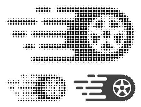 Tire wheel halftone dotted icon. Halftone pattern contains circle pixels. Vector illustration of tire wheel icon on a white background. Illustration