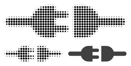Electric connection halftone dotted icon. Halftone pattern contains circle points. Vector illustration of electric connection icon on a white background.