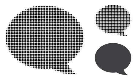 Message cloud halftone dotted icon. Halftone array contains circle elements. Vector illustration of message cloud icon on a white background. Illustration