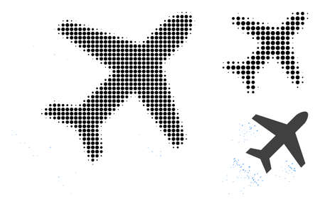 Flying air liner halftone dotted icon. Halftone array contains circle elements. Vector illustration of flying air liner icon on a white background. Illustration