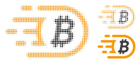 Bitcoin halftone dotted icon. Halftone pattern contains circle dots. Vector illustration of bitcoin icon on a white background.