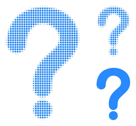 Question mark halftone dotted icon. Halftone pattern contains round points. Vector illustration of question mark icon on a white background.