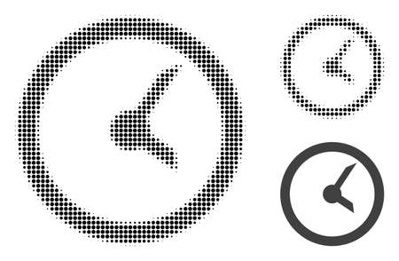 Clock halftone dotted icon. Halftone array contains circle pixels. Vector illustration of clock icon on a white background.
