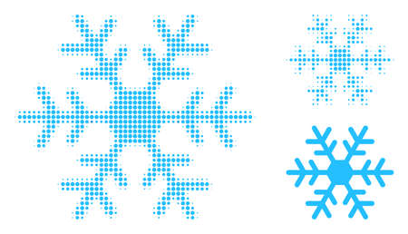 Snowflake halftone dotted icon. Halftone array contains round pixels. Vector illustration of snowflake icon on a white background.