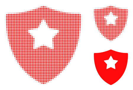 Guard shield halftone dotted icon. Halftone array contains circle pixels. Vector illustration of guard shield icon on a white background. Illustration