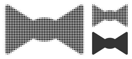 Bow tie halftone dotted icon. Halftone pattern contains round pixels. Vector illustration of bow tie icon on a white background.