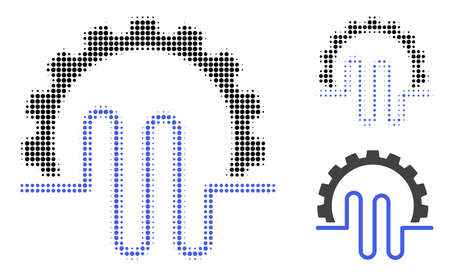 Pipe service gear halftone dotted icon. Halftone array contains round elements. Vector illustration of pipe service gear icon on a white background.