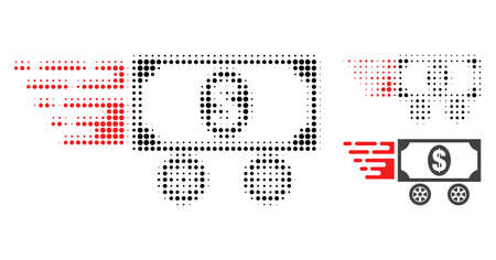 Dollar car halftone dotted icon. Halftone array contains round points. Vector illustration of dollar car icon on a white background. Illustration