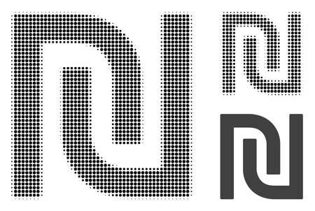Shekel halftone dotted icon. Halftone pattern contains circle points. Vector illustration of shekel icon on a white background.