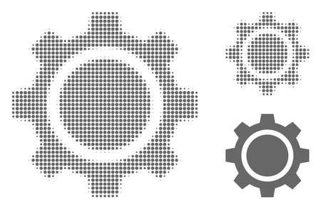 Gear wheel halftone dotted icon. Halftone array contains round pixels. Vector illustration of gear wheel icon on a white background.