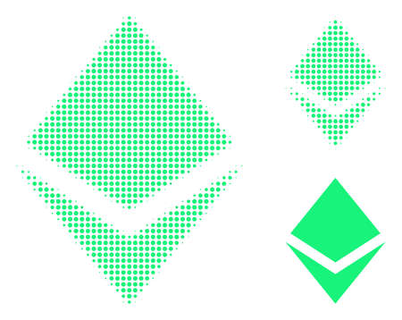 Crystal halftone dotted icon. Halftone pattern contains circle elements. Vector illustration of crystal icon on a white background.