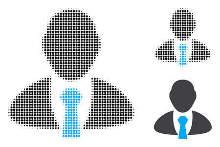 Manager halftone dotted icon. Halftone array contains round pixels. Vector illustration of manager icon on a white background.