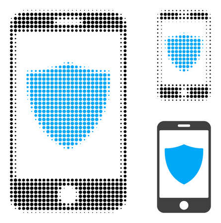 Smartphone shield halftone dotted icon. Halftone pattern contains circle points. Vector illustration of smartphone shield icon on a white background. Illustration