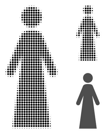 Woman halftone dotted icon. Halftone array contains round pixels. Vector illustration of woman icon on a white background.