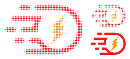 Electric participle halftone dotted icon. Halftone array contains round pixels. Vector illustration of electric participle icon on a white background. Illustration