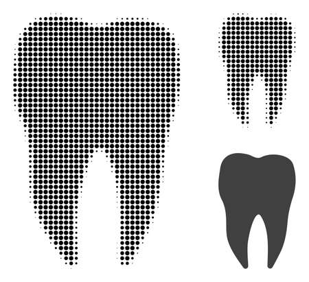 Dental tooth halftone dotted icon. Halftone pattern contains round pixels. Vector illustration of dental tooth icon on a white background.