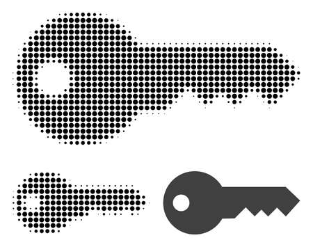 Key halftone dotted icon. Halftone pattern contains round elements. Vector illustration of key icon on a white background.