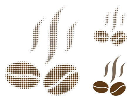 Coffee beans smell halftone dotted icon. Halftone pattern contains circle points. Vector illustration of coffee beans smell icon on a white background. Illustration