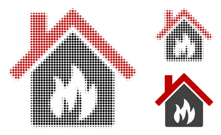 Kitchen building halftone dotted icon. Halftone array contains circle dots. Vector illustration of kitchen building icon on a white background. Illustration